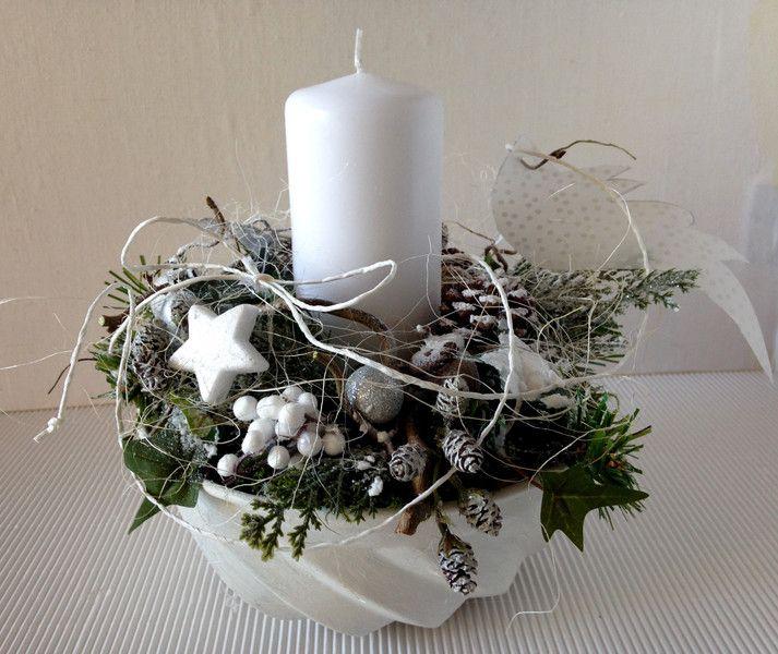 Photo of Weihnachtsdekoration – Guglhupfform Weihnachtskerze weiß silber –
