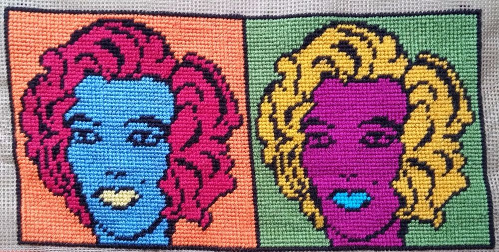 Modern Tapestry: Unique Handmade  Marilyn  Sampler