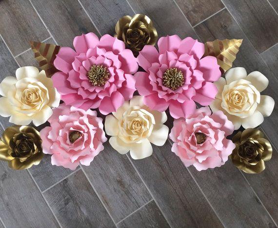 Oro crema y papel flores fondo 10 flores de color rosa
