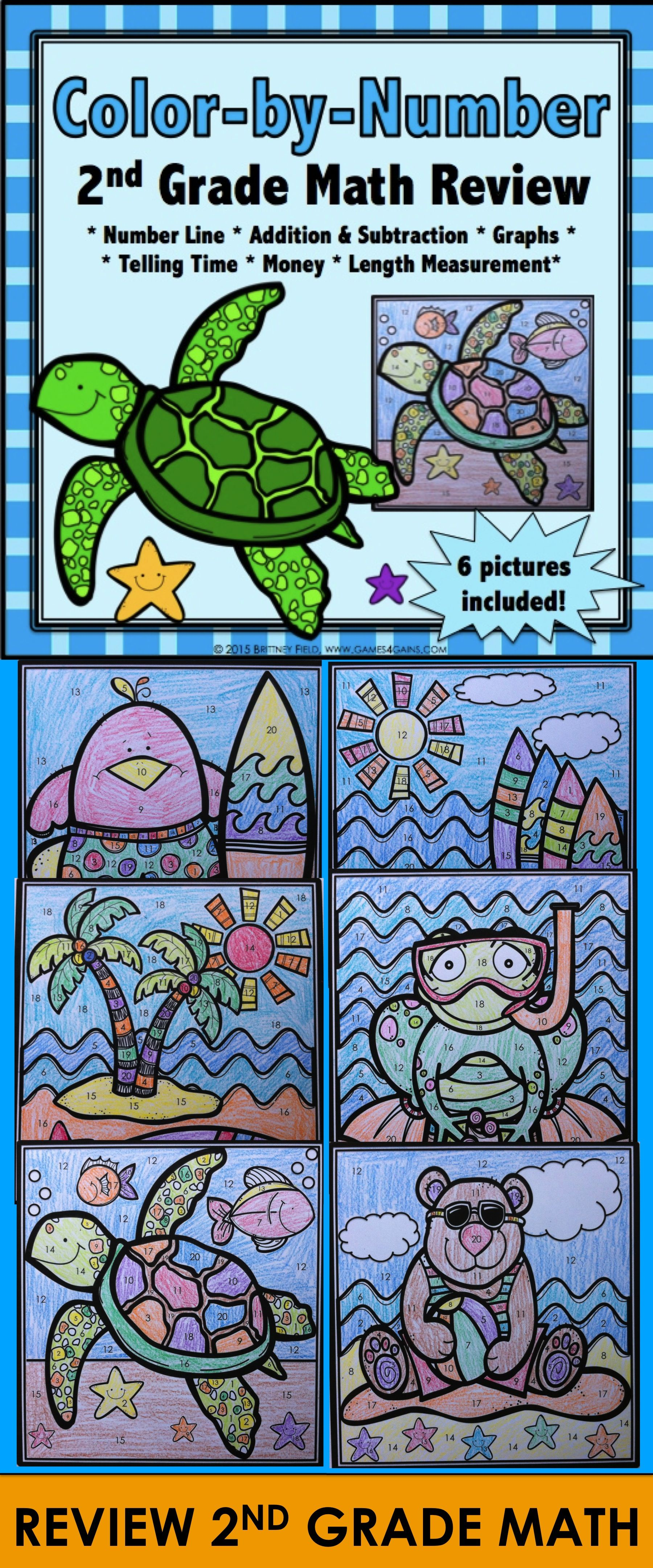 2nd Grade End of the Year Math Review {Color by Number Summer Packet ...