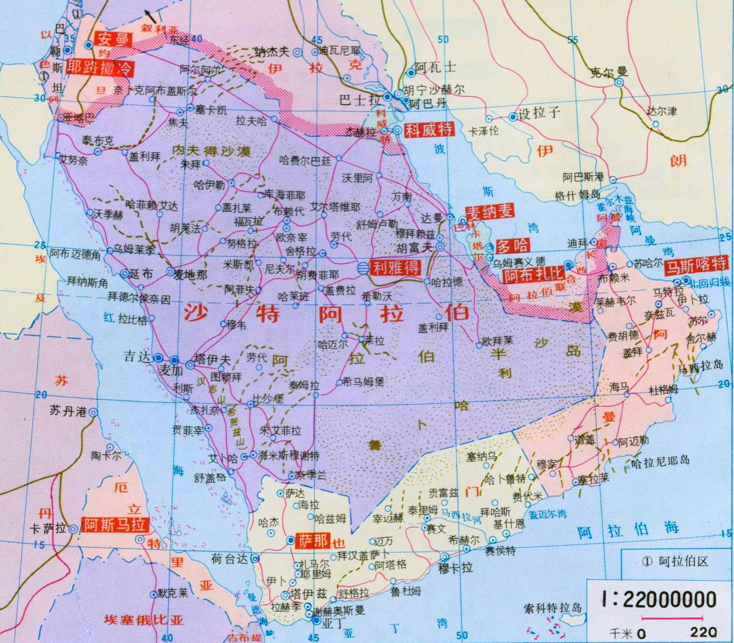 Map Of Saudi Arabia With Roads And Cities In Chinese Saudi Arabia - Saudi road map with cities