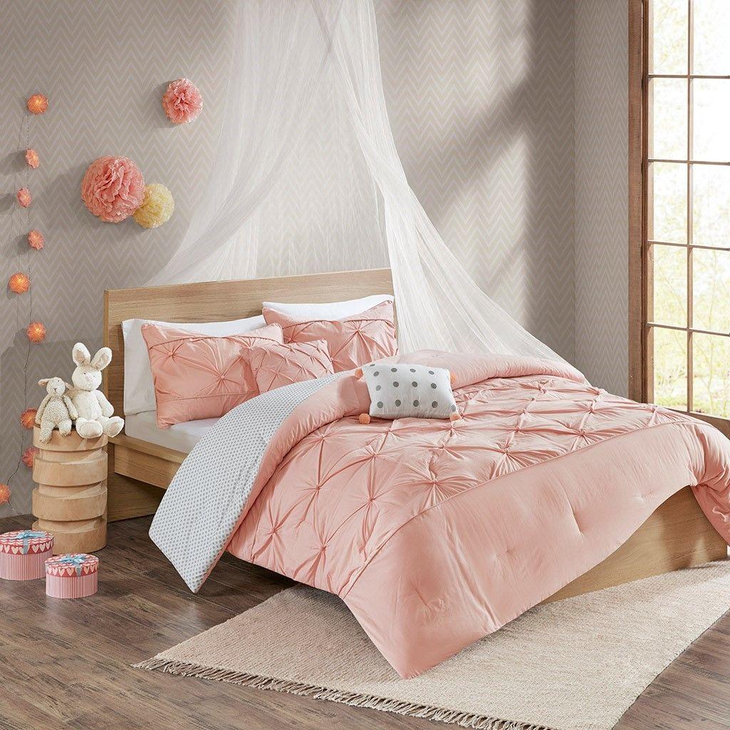 Grey /& Blush Pink Reversible Cotton Duvet Cover Set AND Decorative Pillow