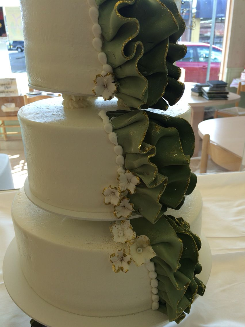 Green Ruffle Wedding Cake By Beaverton Bakery