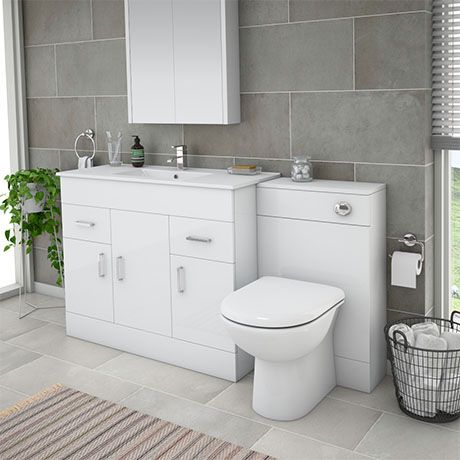 Turin 1500mm Gloss White Vanity Unit Bathroom Suite ...