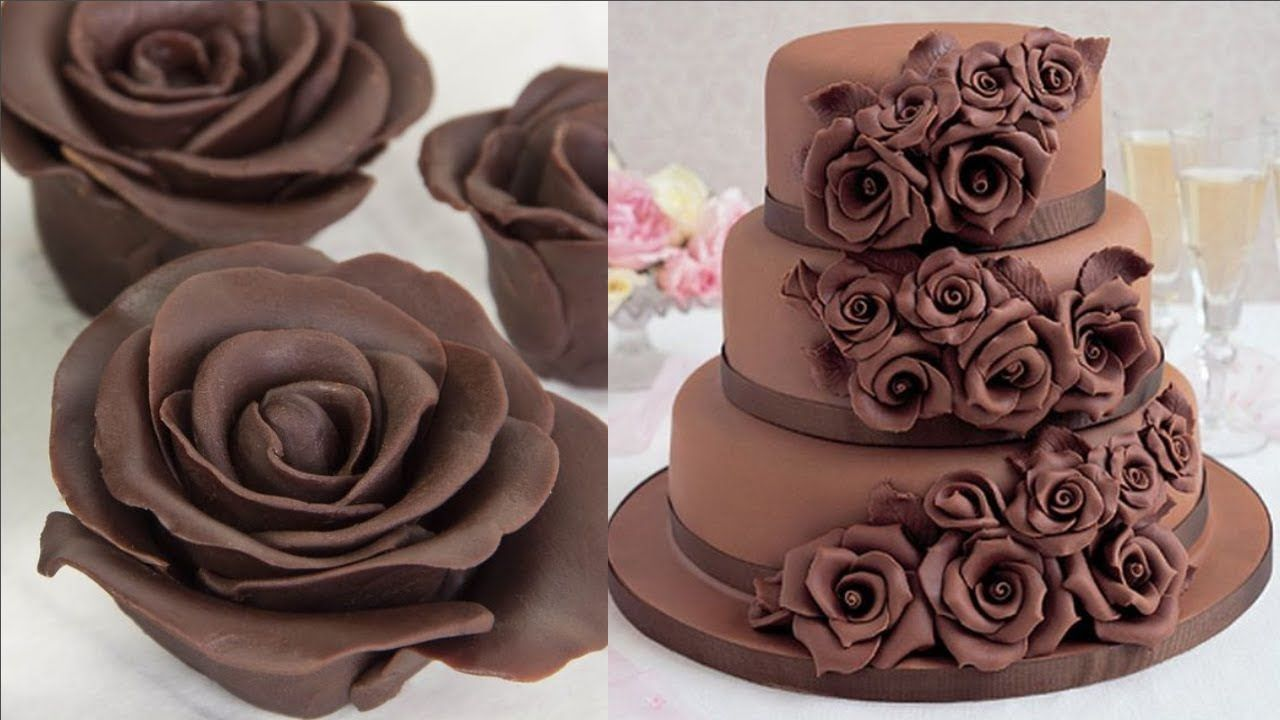 Amazing Rose Chocolate Cake Decorating Tutorial How To Make Flower Chocolate Cakes Youtube Arabescos De Chocolate Decoracao De Bolo Decoracao De Bolos