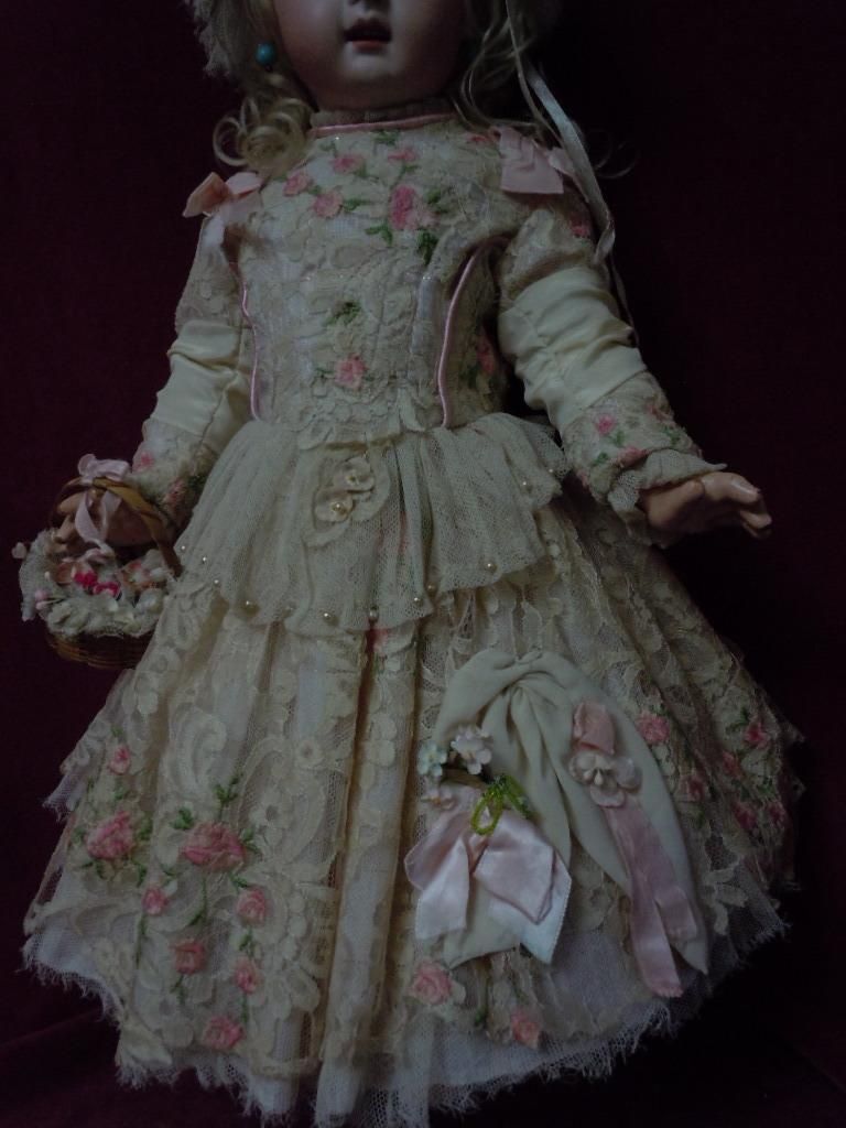 Exquisite french bebe Couturier Costume Dress w/ Petticoat Cap Basket Necklace for antique Jumeau Steiner Bru doll #dollunderware