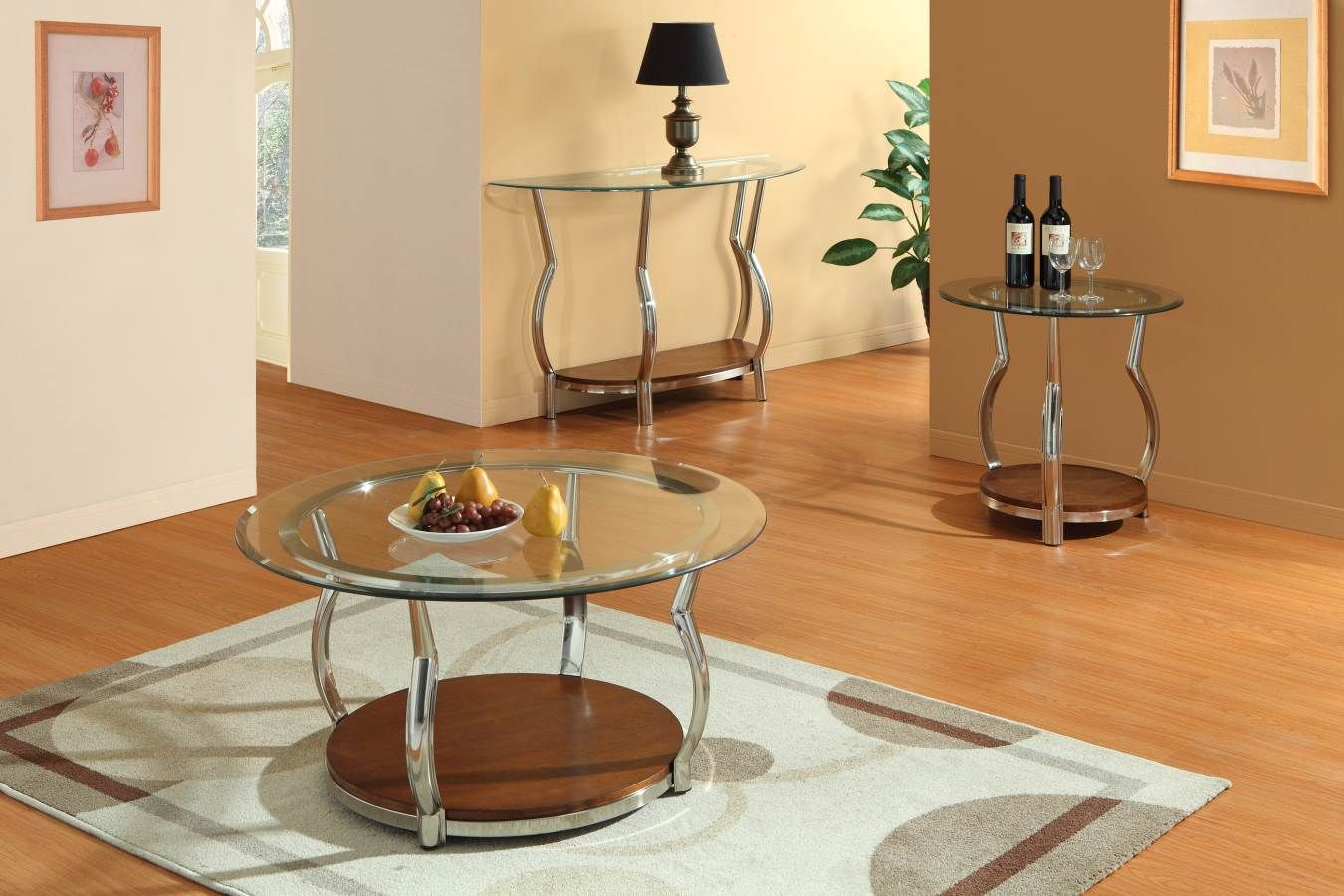 Wells Chrome Metal Brown Wood Glass Coffee Table Set