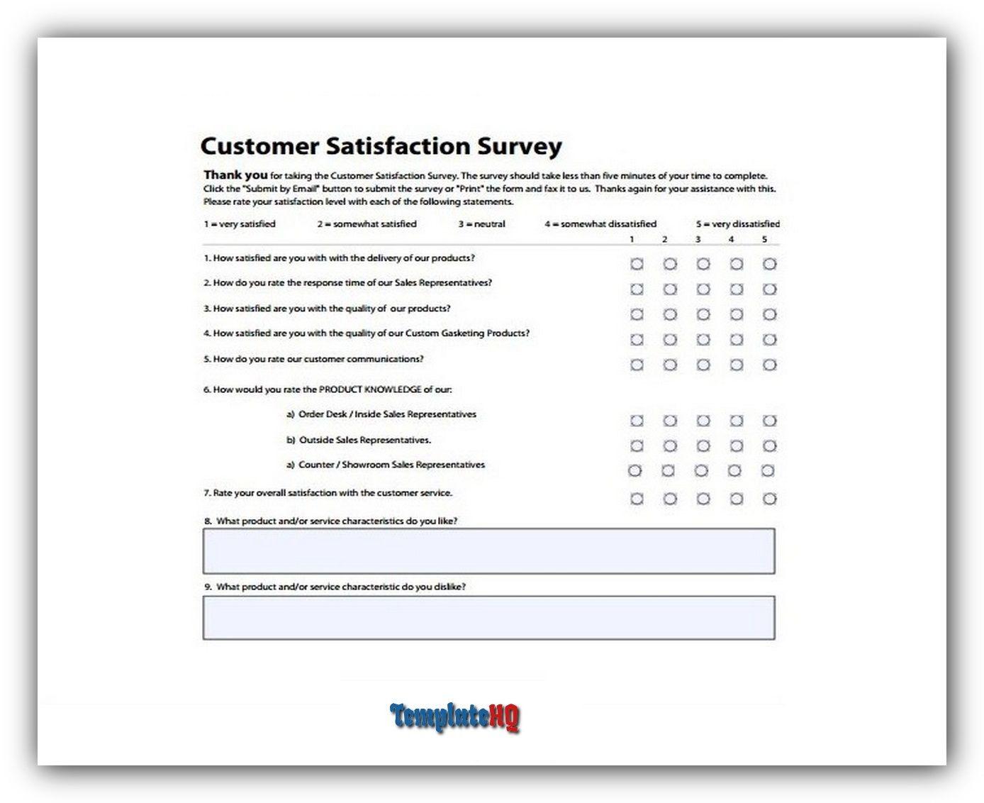 Samples of customer satisfaction surveys