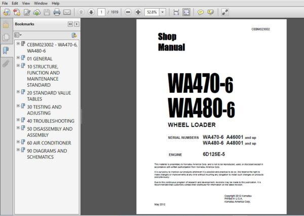 Komatsu Wa470 6 Wa480 6 Wheel Loader Service Repair Manual Cebm023002 Komatsu Wa470 6 Pdf In 2020 Repair Manuals Komatsu Manual