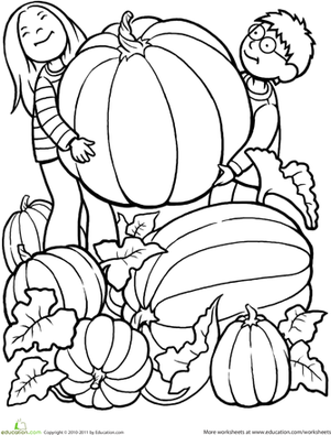 Fall Kindergarten People Worksheets Giant Pumpkin Coloring Page