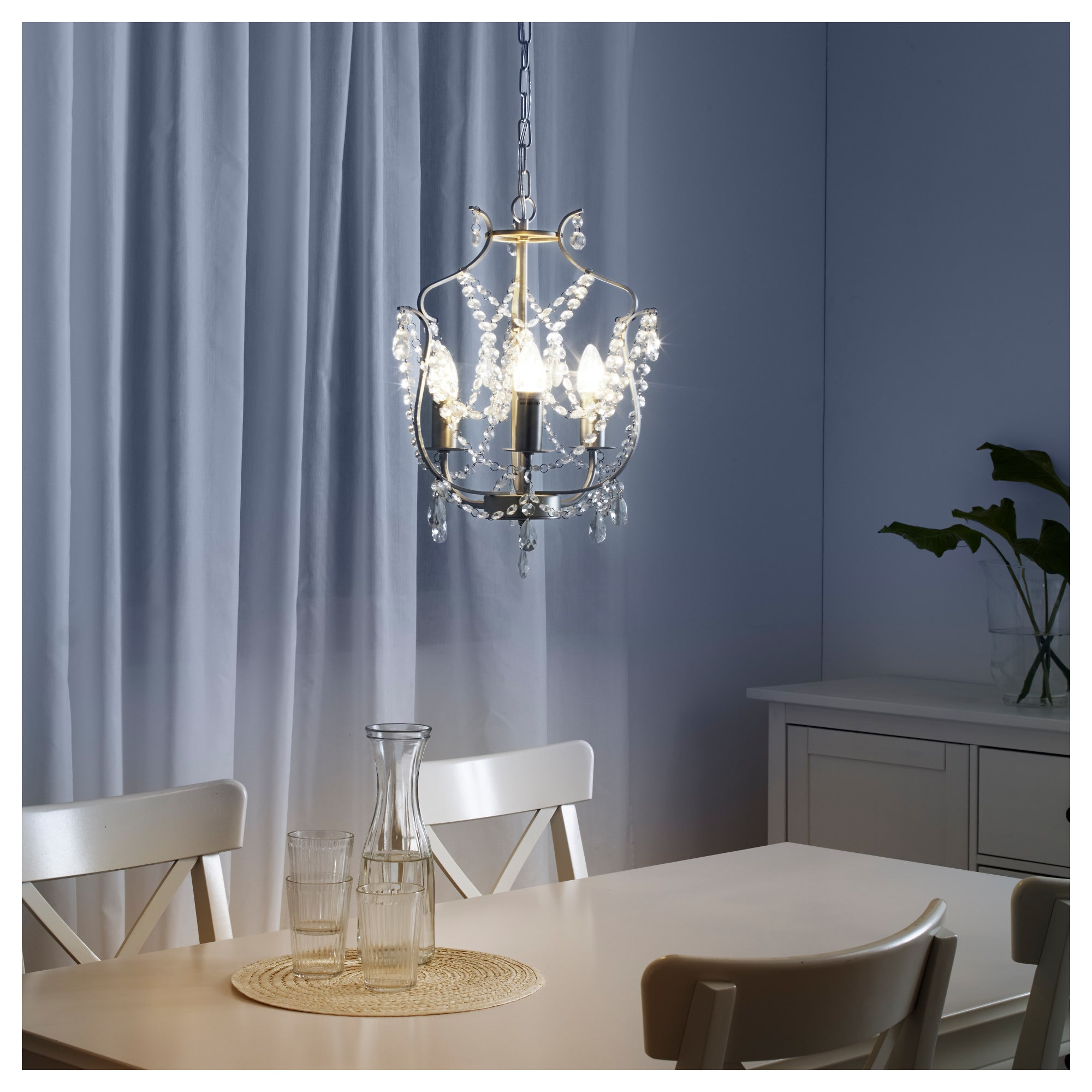 IKEA KRISTALLER Chandelier, 3 armed silver color, glass