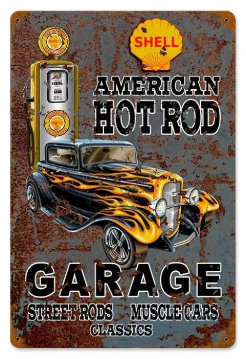 Vintage Hot Rod Shell Gas Metal Sign