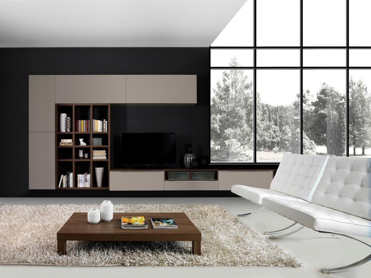 Pareti Attrezzate Moderne Con Camino soggiorno divano parete attrezzata