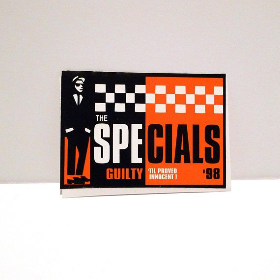 The specials sticker 1998 guilty til proven innocent ska vintage stickers decals band postcards pinterest ska music store and reggae