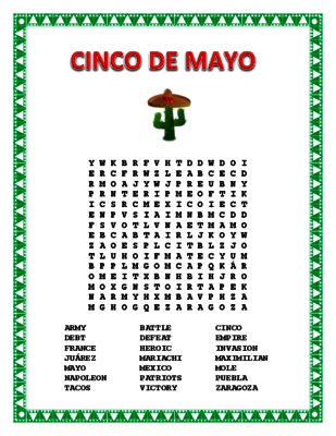 Cinco De Mayo Word Search Spanish English And Cross Word Puzzle From La Senora H On Teachersnotebook Com This Exciting Word Search Double Puzzle Can