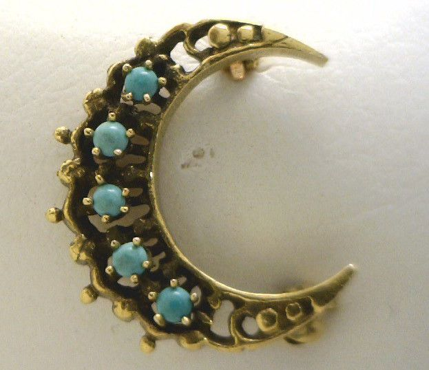 Vintage 14KYG Petite Crescent Moon Pin with Turquoise
