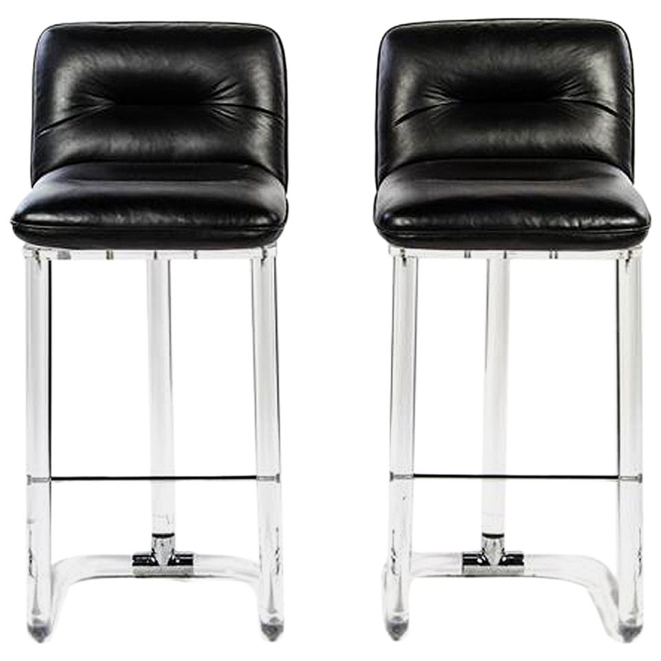Pair of Signed Swivel High Chairs or Bar Stools by Lion in Frost – Bar High Chair
