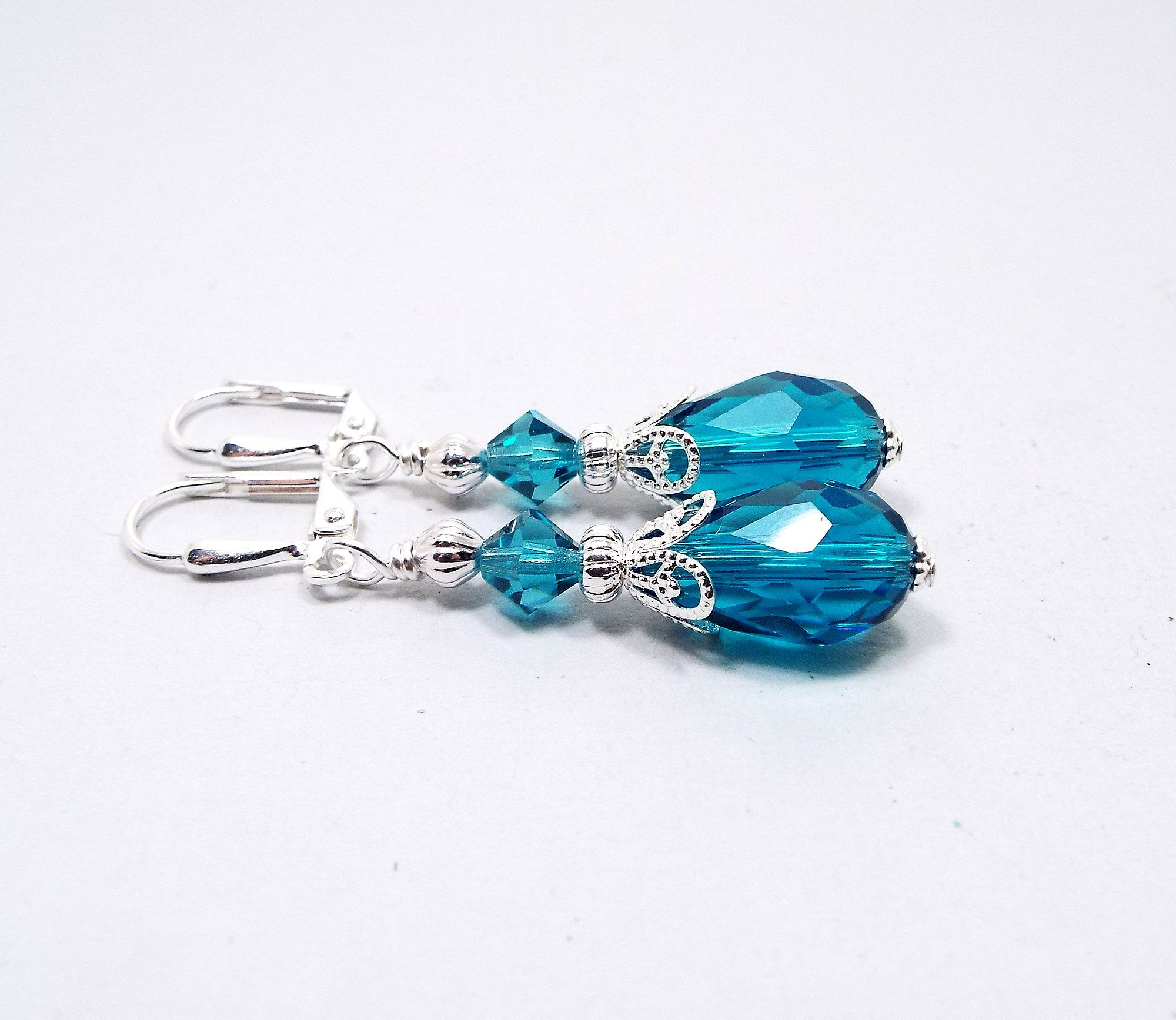 Glitz Glam Blue Diamontrigue Jewelry: Teal Blue Teardrop Earrings, Glass Crystal Beaded Dangle