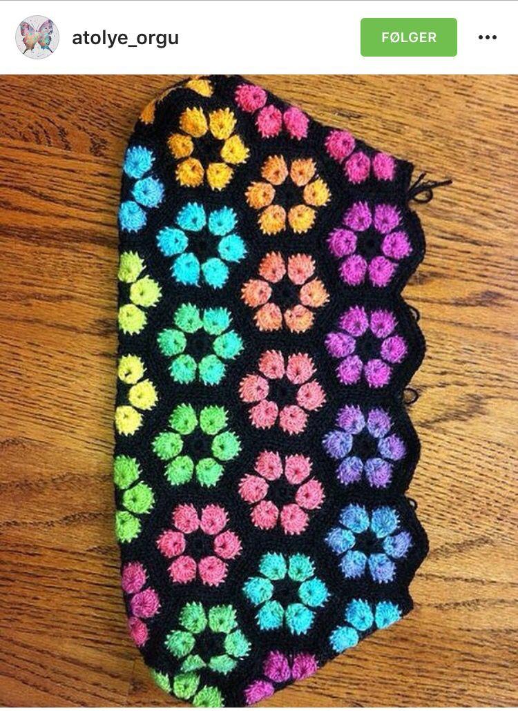 Neon african flowers | crochet | Pinterest | Manta, Colchas y Tejido