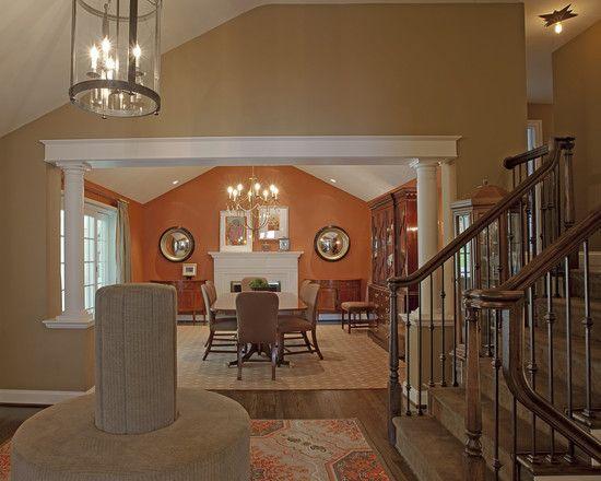 die besten 25 w nde mit orangem akzent ideen auf pinterest orange esszimmerm bel oranges. Black Bedroom Furniture Sets. Home Design Ideas