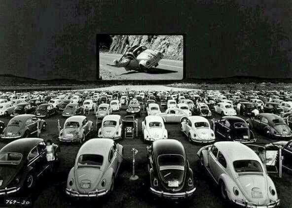 A parking lot full of vw beetles in 1968 watching Herbie the love bug |  Drive in theater, Volkswagen, Drive in movie theater
