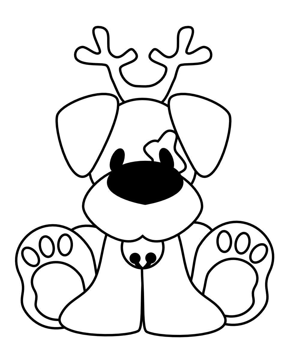 Perro Reno de Navidad para colorear … | Pinteres…