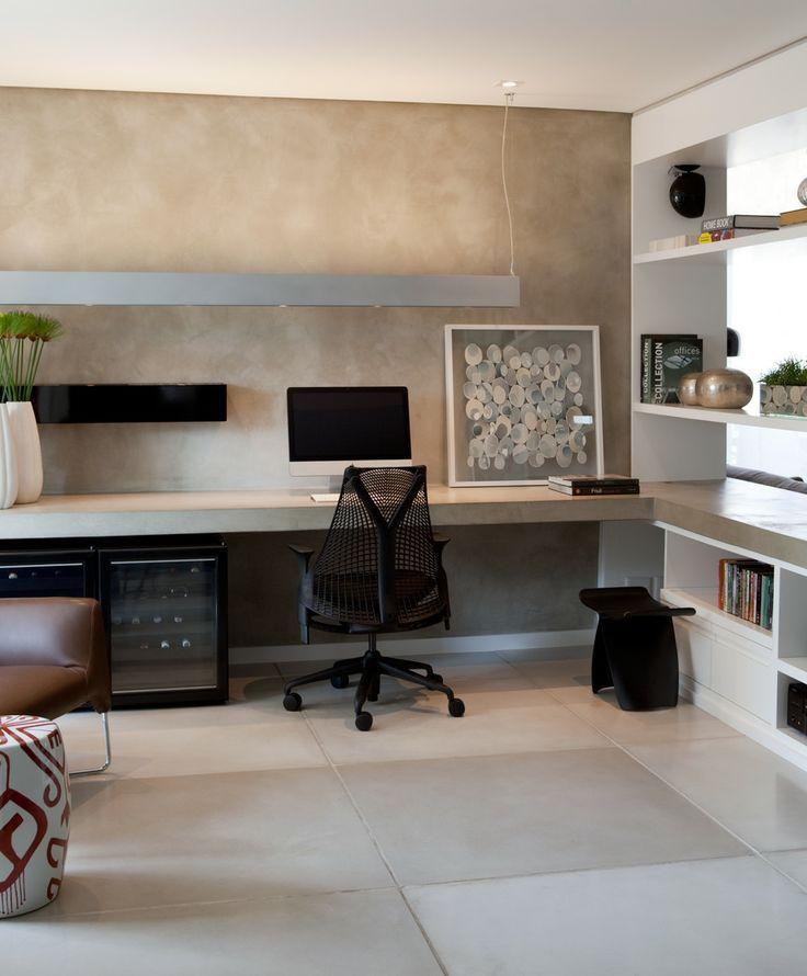 Home Office Minimalista Com Bancada De Concreto E Parede Em