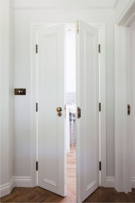 White Mini French Doors With Brass For The Master Bath For The