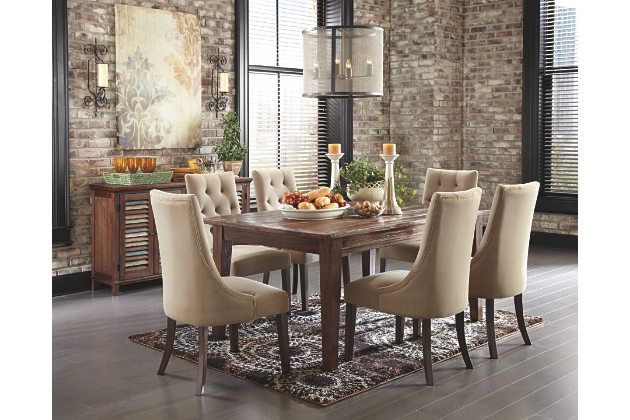 Mestler rustic dining room table with upholstered chairs and ...
