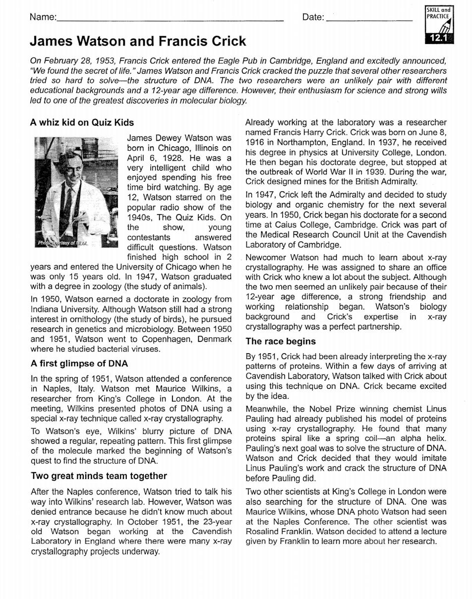 WatsonandCrickReading.pdf | Biology | Pinterest