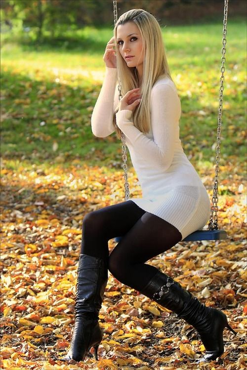 Sweater dresses with leggings and boots images