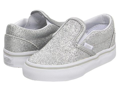 bc72ba3902 Vans Kids Classic Slip-On (Infant Toddler) (Glitter) Silver True White -  Zappos.com Free Shipping BOTH Ways