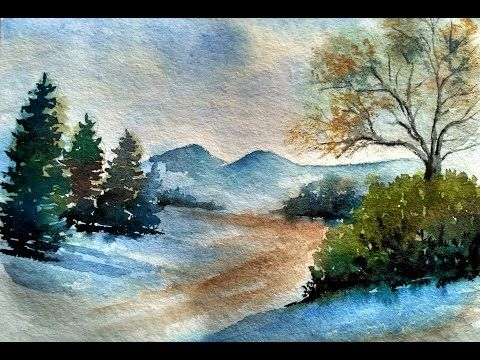 How To Make Landscape In Watercolor By David Sonowal Youtube Watercolor Paintings Easy Landscape Paintings Oil Painting Frames