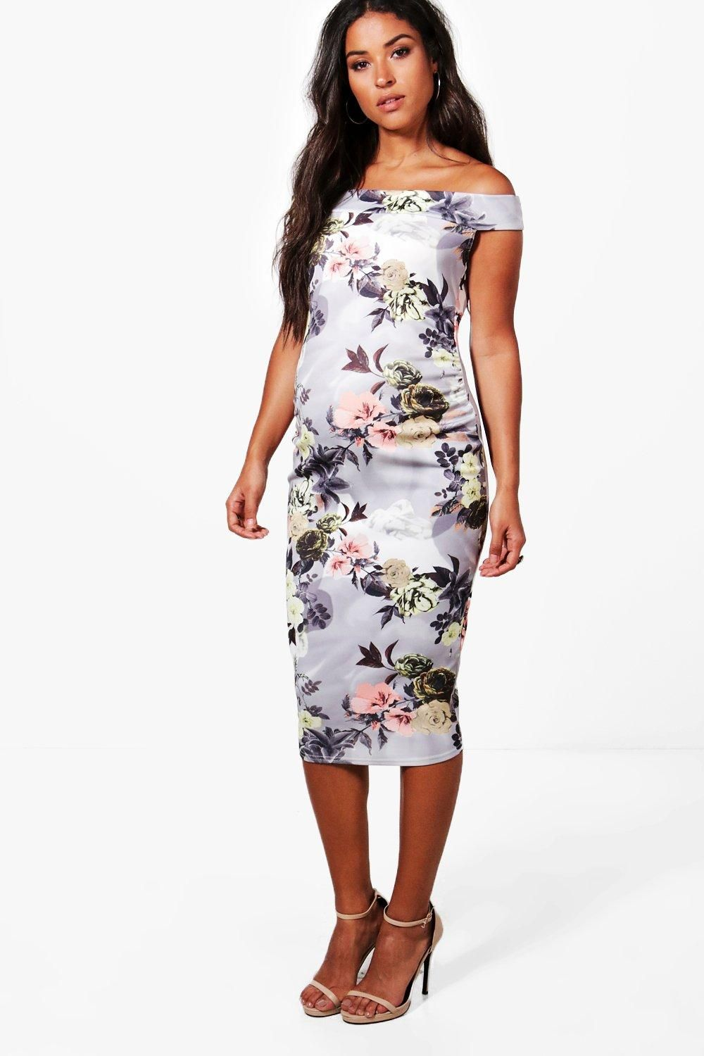 Click here to find out about the Maternity Beth Off The Shoulder Floral Midi  Dress from Boohoo 28513fb5019