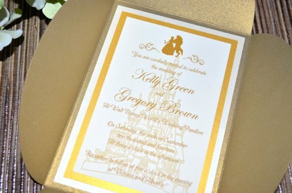 Fairy tale wedding invitations beauty and the beast petal fold by klmcreative