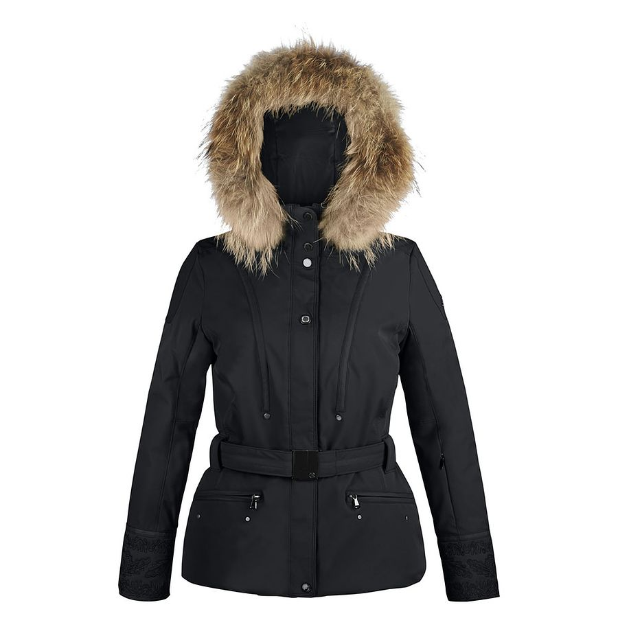 388a00af9 Poivre Blanc Faux Fur Trim Stretch Ski Jacket for Women in Black ...