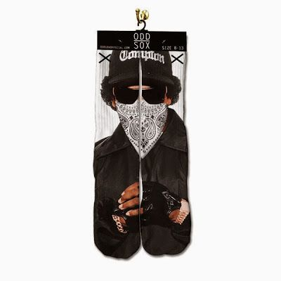 KIX & LIDZ: Odd Sox The Compton Sox...Here are The Compton Sox made by Odd Sox and features the picture of the legendary Eazy-E of the legendary rap group N.W.A., these socks are made in China and fits sizes 6-13. You can purchase these socks online at Cranium Fittedsand other Odd Sox retailers.