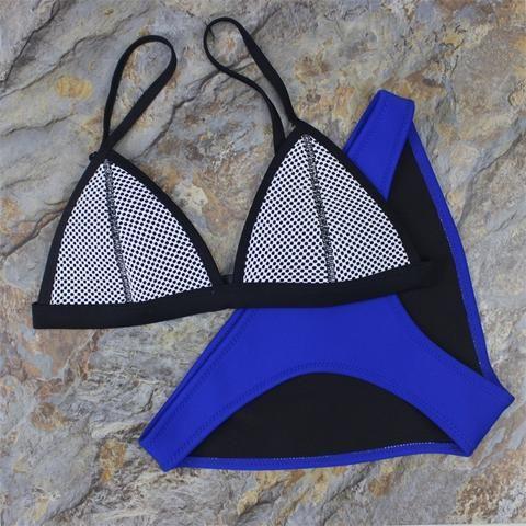 Women Mesh Neoprene Bikini Triangle Swimsuit Beach Swimwear - Stylish n Trendier - 6