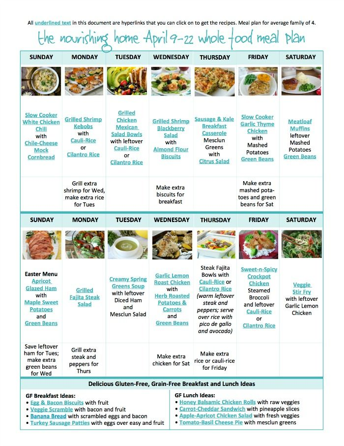 Apr  BiWeekly Whole Food Meal Plan For April   Meals Easy