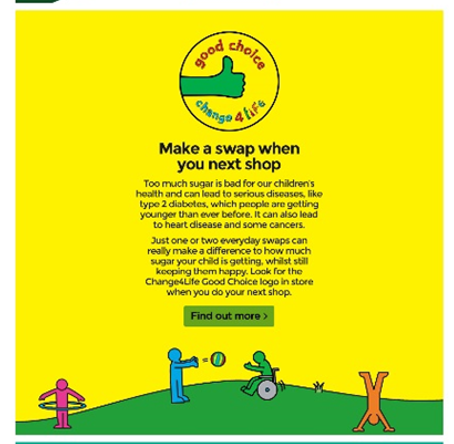 An ASDA email featuring Change4Life in 2020 Eating well
