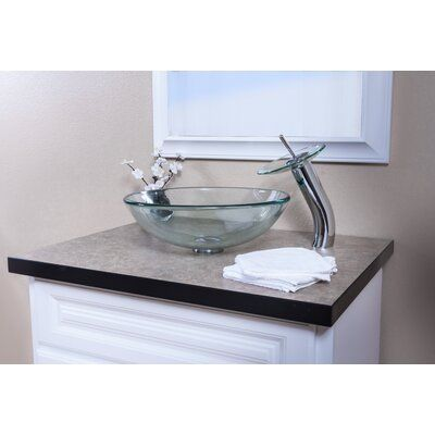 Photo of Topia Single Lever Waterfall Vessel Sink Hole Bathroom Faucet Finish: Chrome