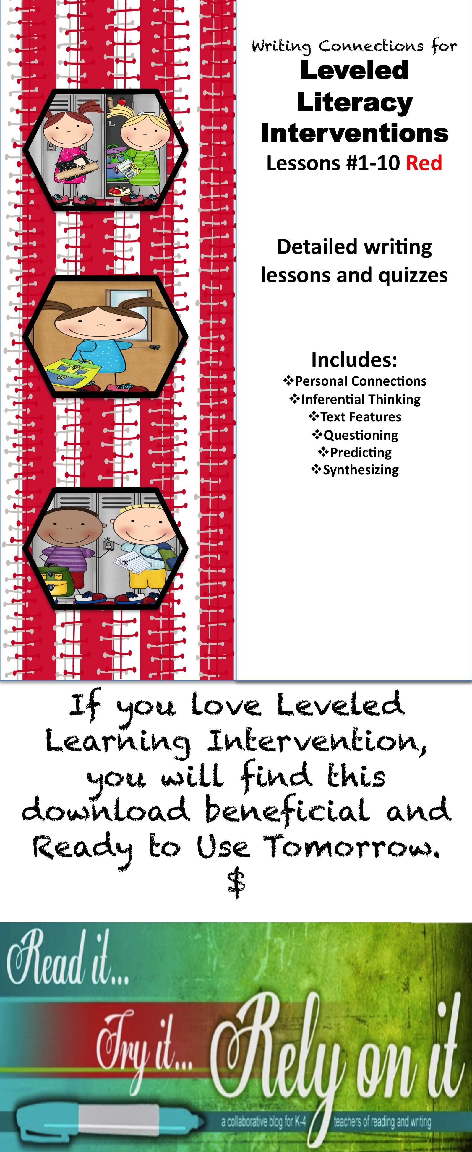 Writing Connections For Red Leveled Literacy Lessons 1