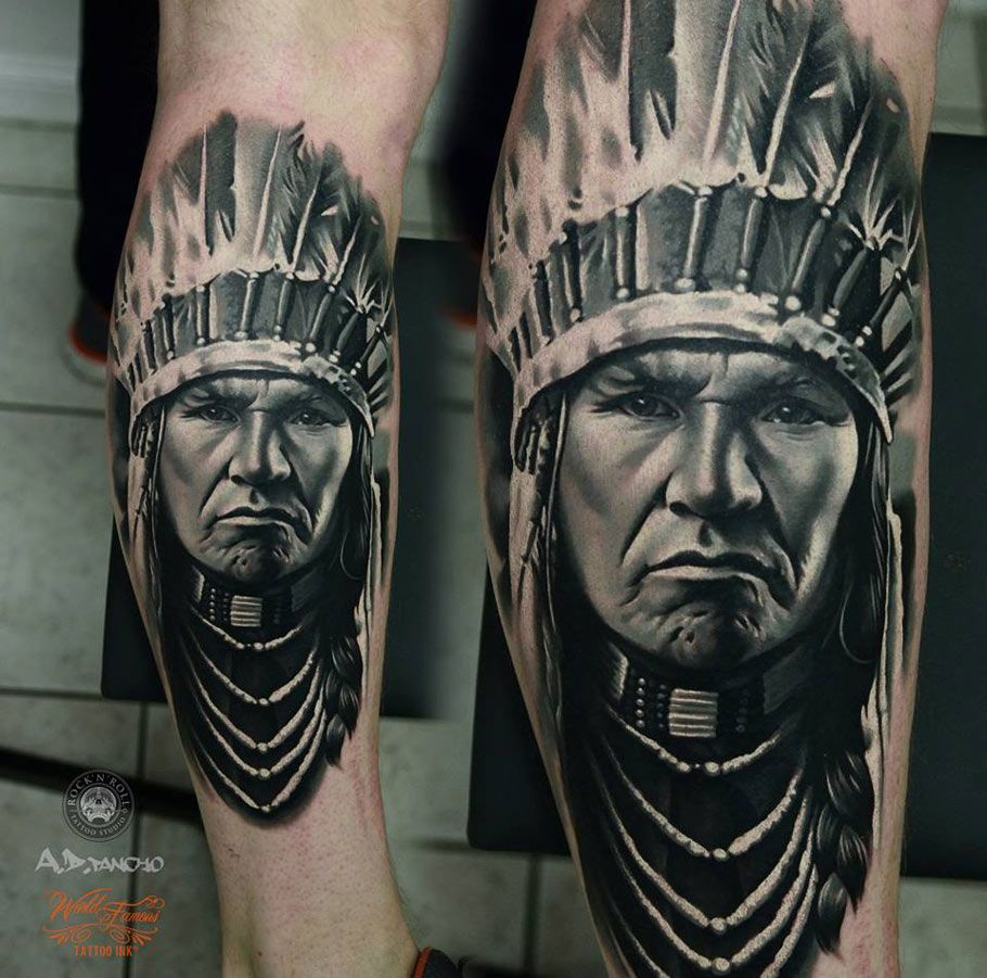 Indian Portrait By A D Pancho Native American Tattoos Best Leg Tattoos Indian Tattoo
