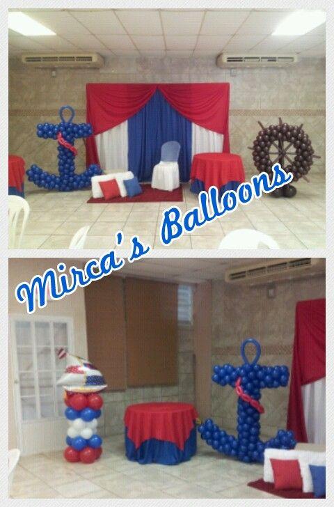 Deco nautica baby shower d aaron pinterest globo for Decoracion nautica infantil