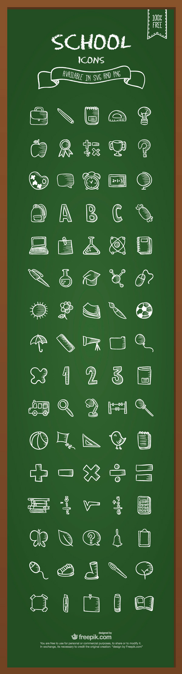 Free Download: School Icons Available in SVG and PNG