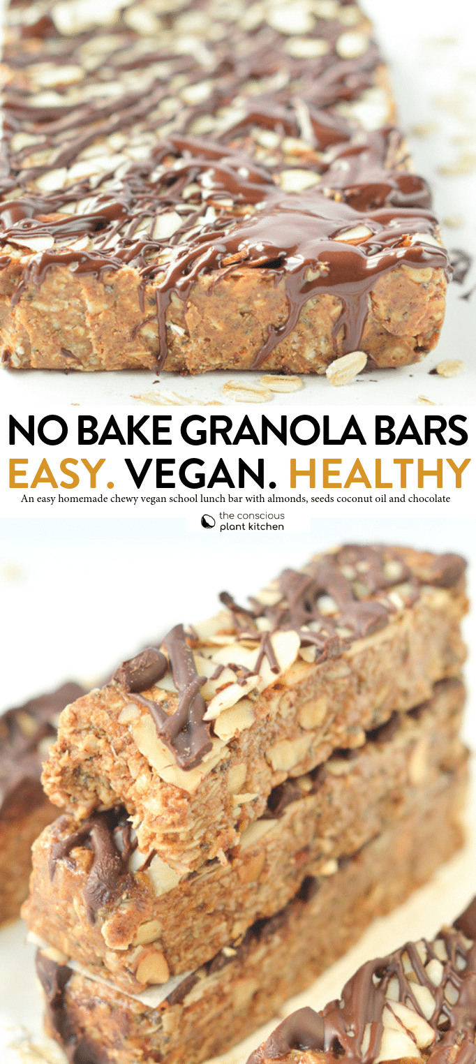 NO BAKE HEALTHY GRANOLA BARS, easy homemade chewy vegan school lunch bars with coconut oil and chocolate