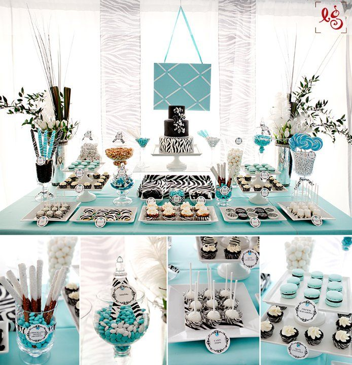 Tiffany Themed Party For Keira S 18th Birthday: Blue Dessert Table At I Do In Style Show