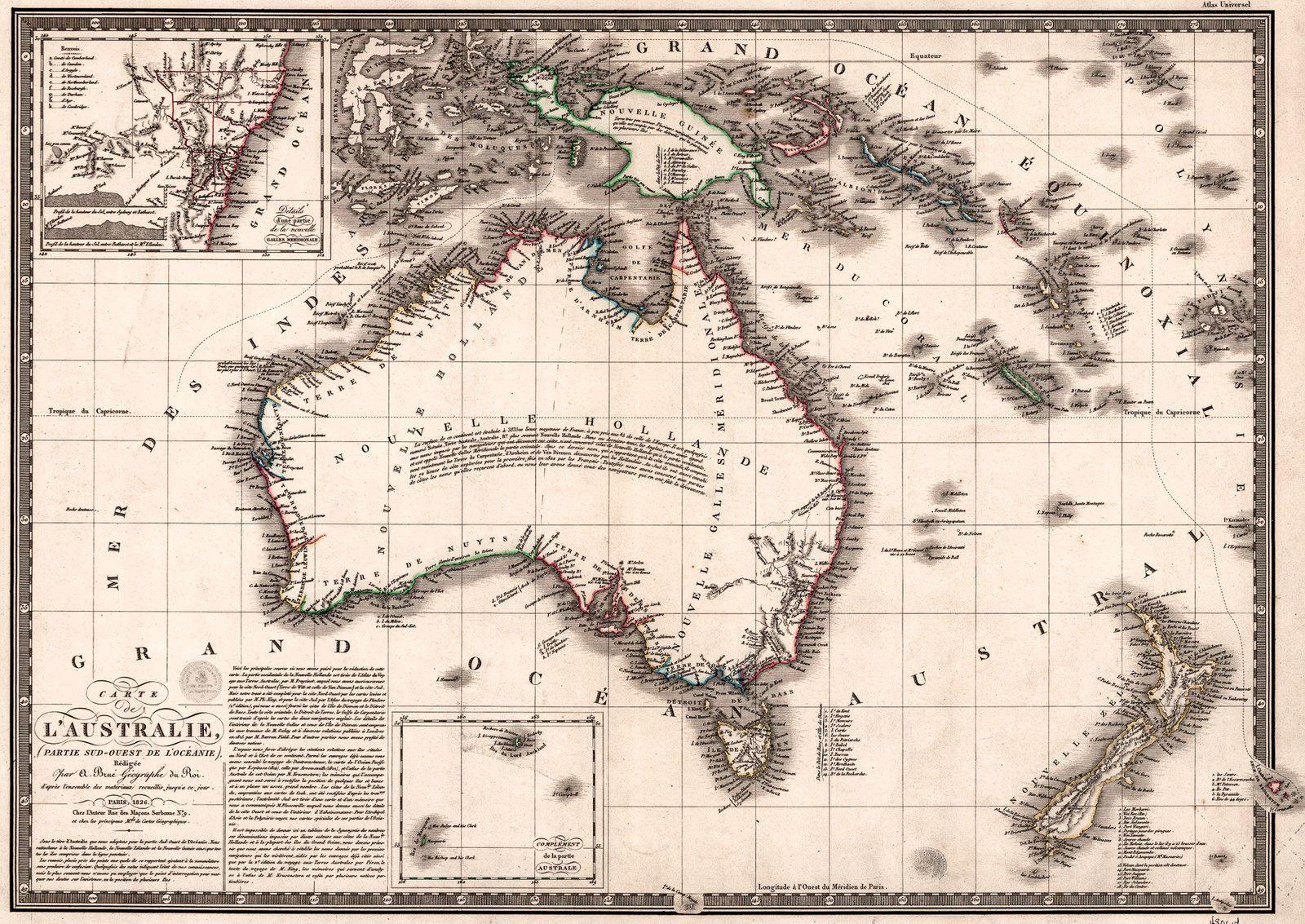 Antique Map Of Australia Old Vintage 1826 Fade Resistant Hd Print Or Canvas Mapa De Australia Arte De Mapa Mural Mapa Antiguo