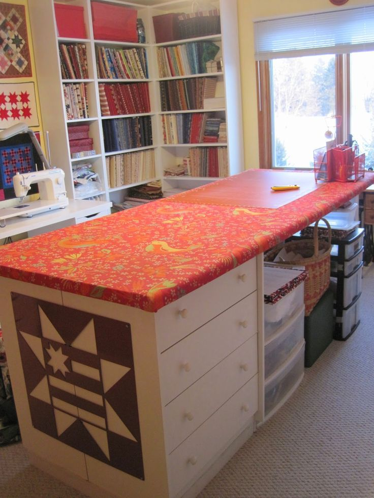 Cutting Table Covered With Batting And Fabric Perfect For