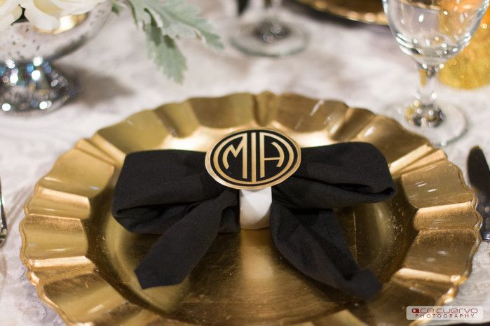 Black Polyester with Ivory Damask Runner | Gold Chiavari Charger ...